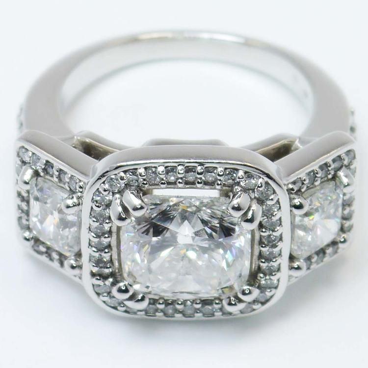 Custom Triple Cushion Halo Diamond Engagement Ring (3.60 carat) angle 2