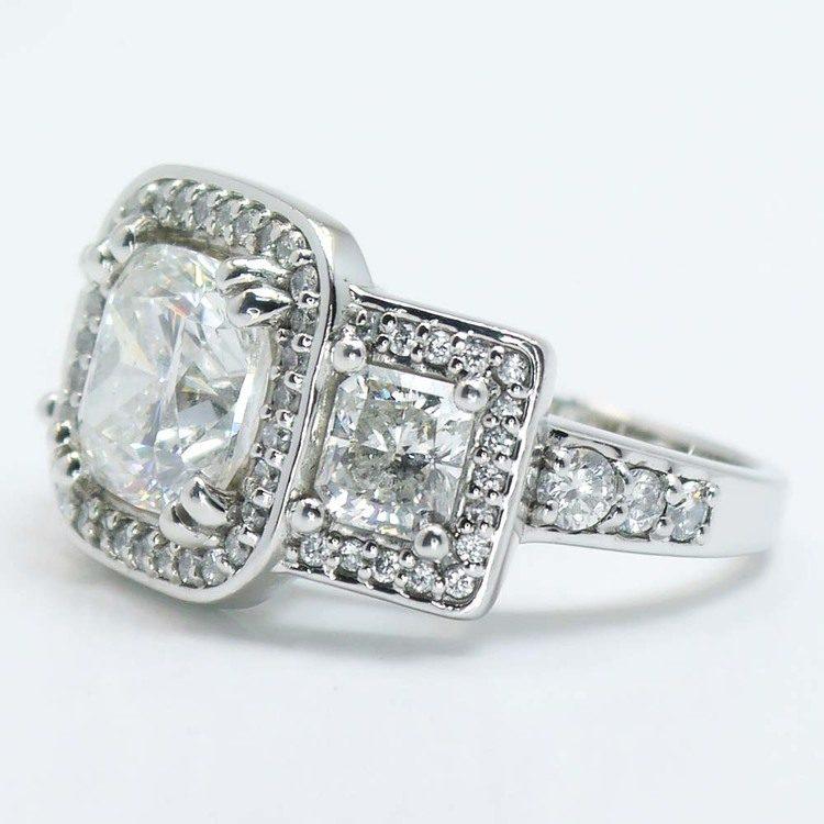 Custom Triple Cushion Halo Diamond Engagement Ring (3.60 carat) angle 4