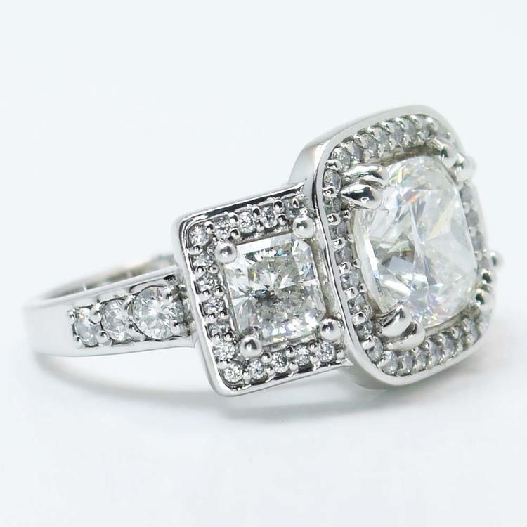 Custom Triple Cushion Halo Diamond Engagement Ring (3.60 carat) angle 3