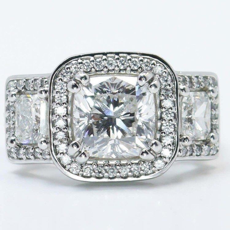 Custom Triple Cushion Halo Diamond Engagement Ring (3.60 carat)