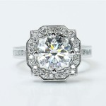 Round Custom Channel Pave Halo Diamond Ring (0.72 Carat) - small