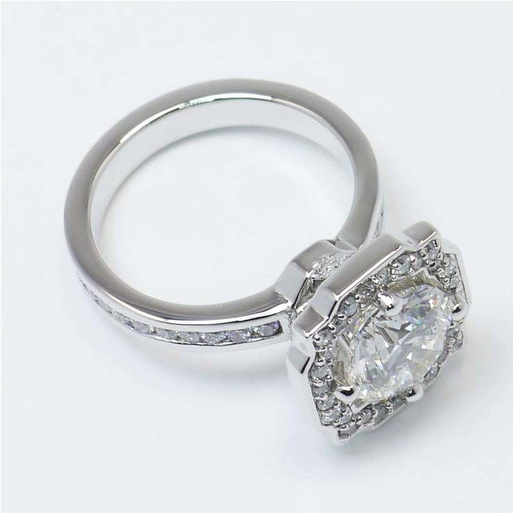 Round Custom Channel Pave Halo Diamond Ring (0.72 Carat) angle 2