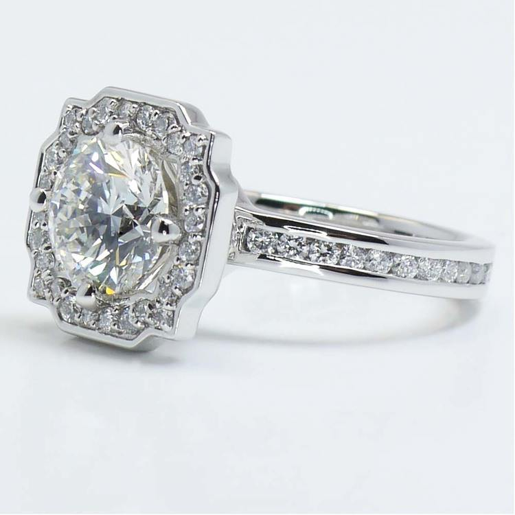 Round Custom Channel Pave Halo Diamond Ring (0.72 Carat) angle 3