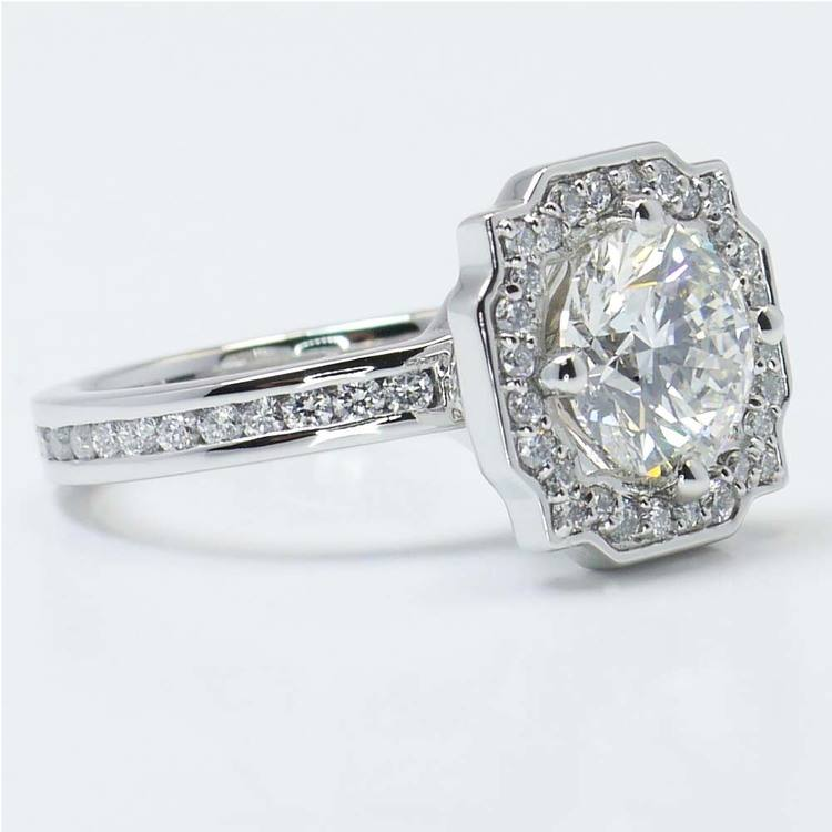 Round Custom Channel Pave Halo Diamond Ring (0.72 Carat) angle 4