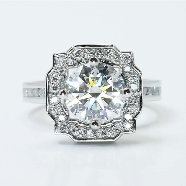 Round Custom Channel Pave Halo Diamond Ring (0.72 Carat)