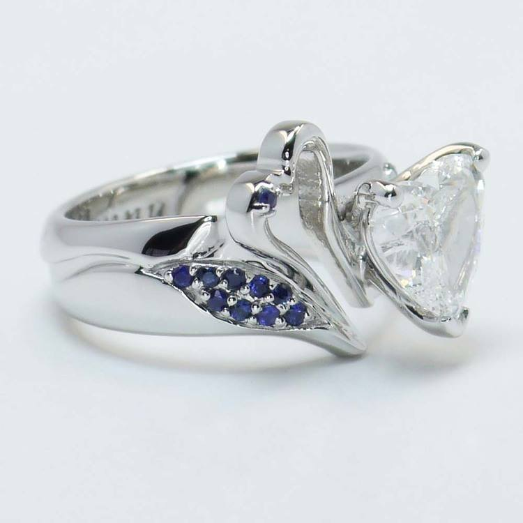 Custom 1.50 Carat Heart Diamond and Sapphire Engagement Ring angle 2