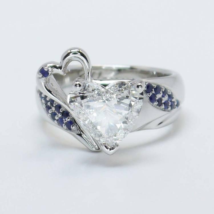 Custom 1.50 Carat Heart Diamond & Sapphire Engagement Ring