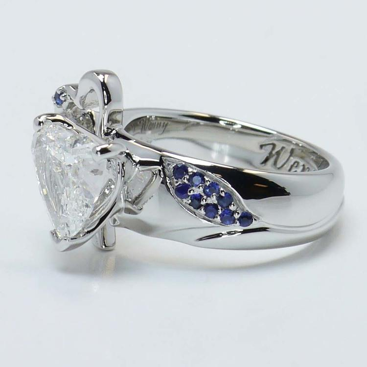 Custom 1.50 Carat Heart Diamond and Sapphire Engagement Ring angle 3
