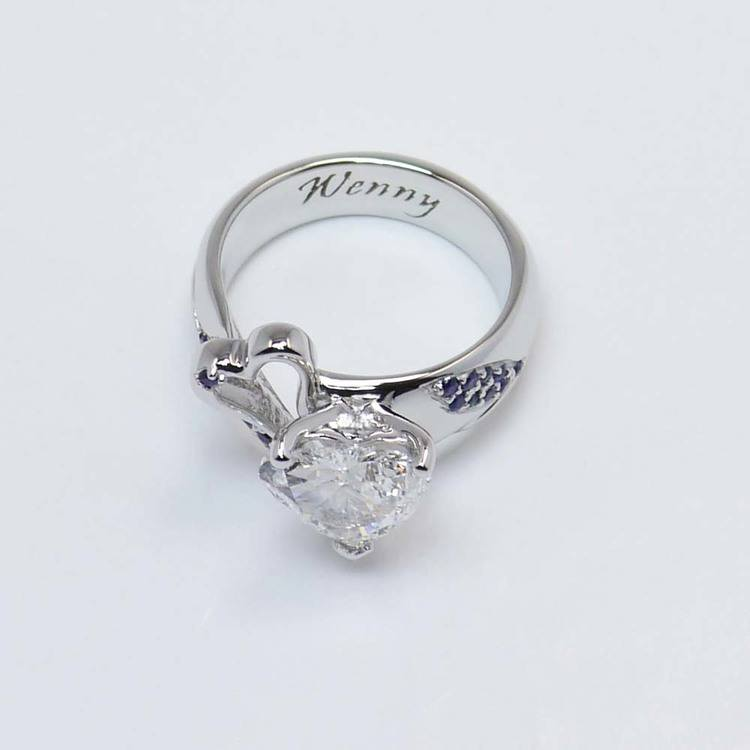Custom 1.50 Carat Heart Diamond and Sapphire Engagement Ring angle 4
