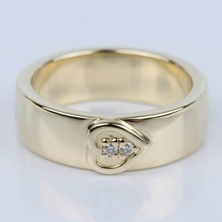 Custom Heart Diamond Wedding Ring in Yellow Gold