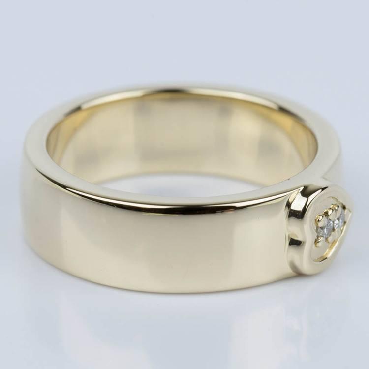 Custom Heart Diamond Wedding Ring in Yellow Gold angle 3