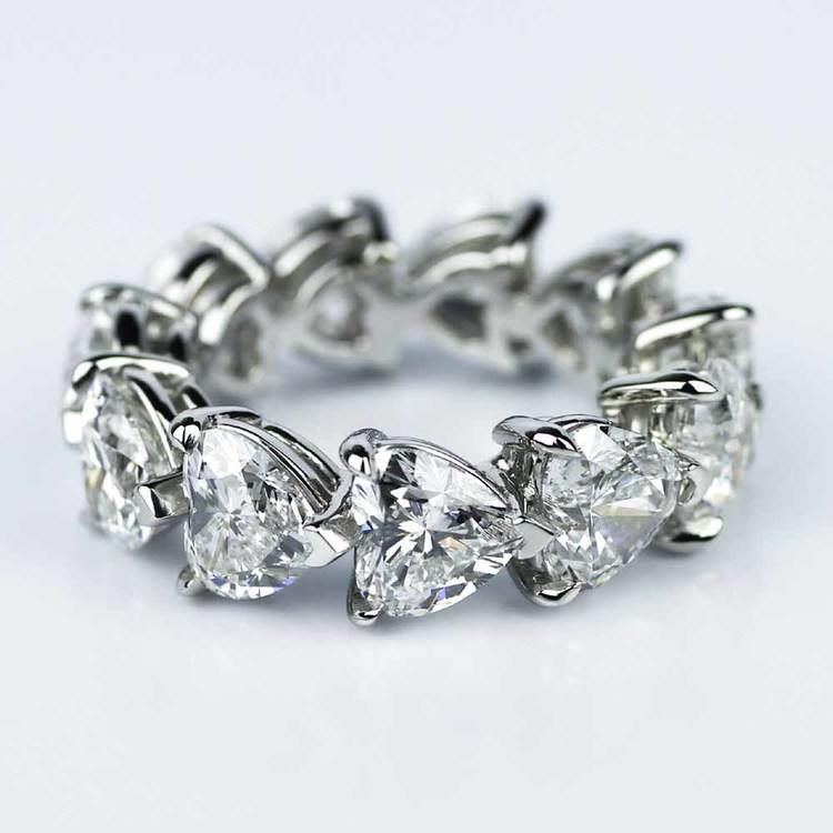 Custom Heart Shape Diamond Eternity Ring in Platinum