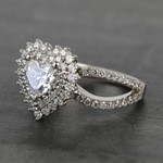 Custom Heart Loose Diamond Engagement Ring in White Gold - small angle 2