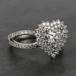 Custom Heart Loose Diamond Engagement Ring in White Gold - small angle 3