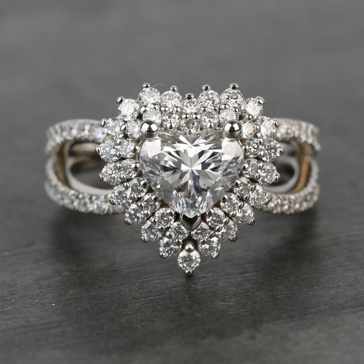 Custom Heart Loose Diamond Engagement Ring in White Gold
