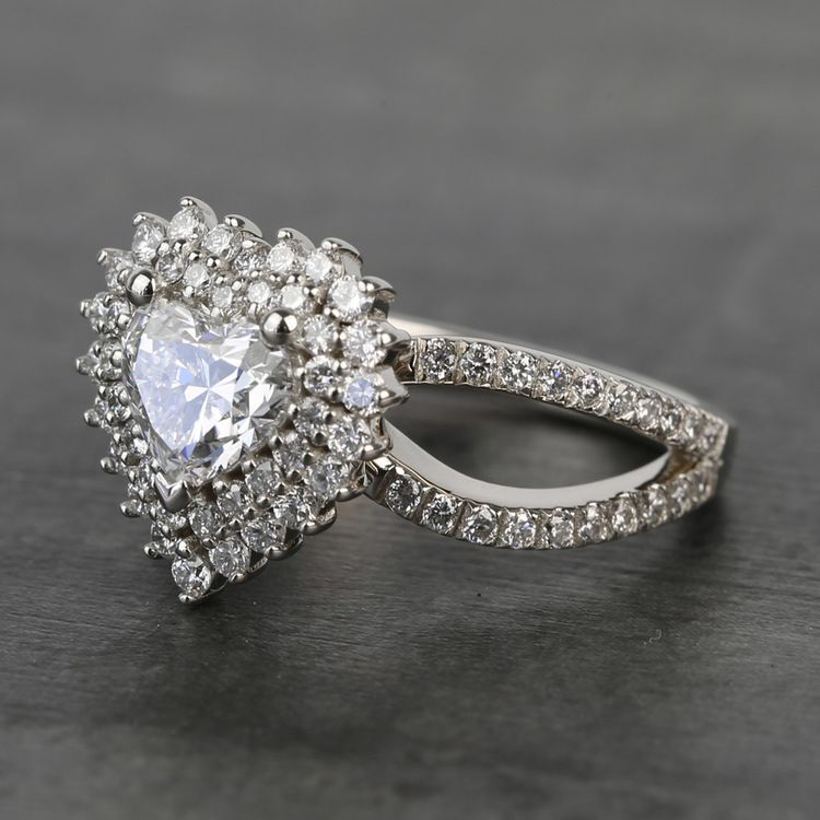 Custom Heart Loose Diamond Engagement Ring in White Gold angle 2
