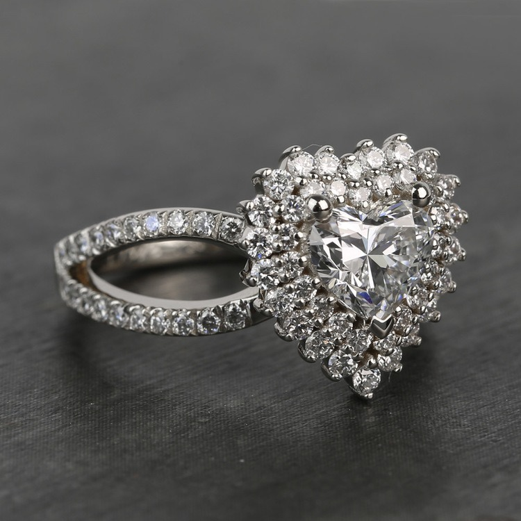 Custom Heart Loose Diamond Engagement Ring in White Gold angle 3