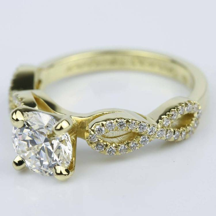 Custom Infinity Twist Diamond Engagement Ring (1.30 ct.)  angle 2