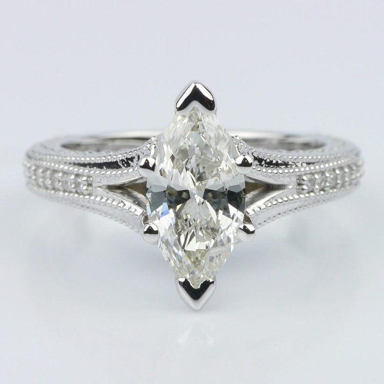 Custom Split Shank Marquise Diamond Engagement Ring
