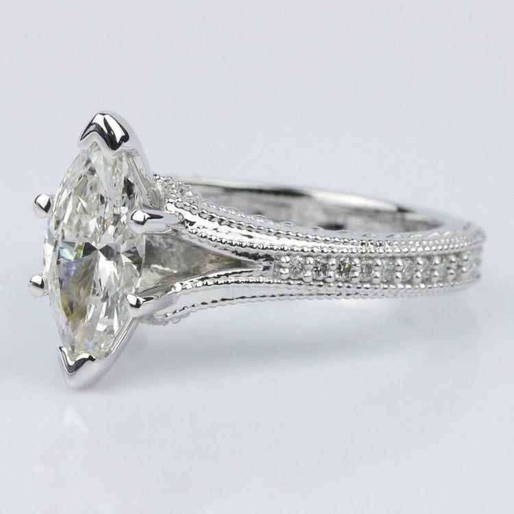 Custom Split Shank Marquise Diamond Engagement Ring angle 2