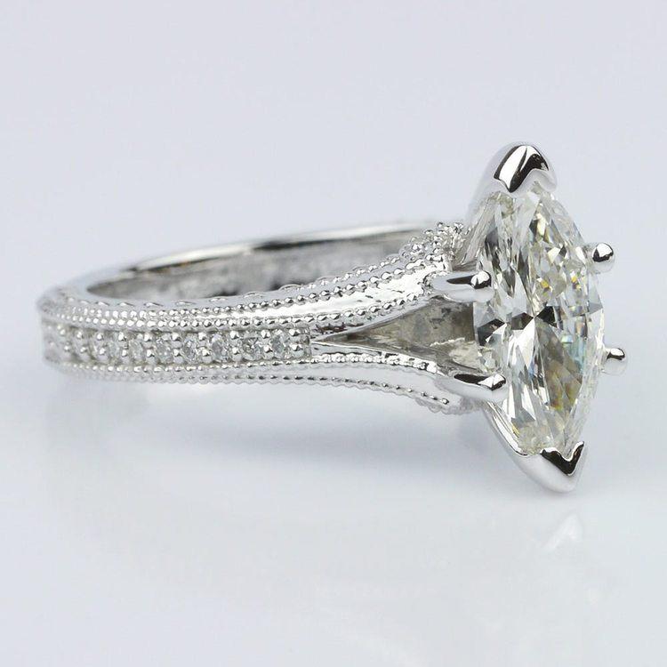 Custom Split Shank Marquise Diamond Engagement Ring angle 3