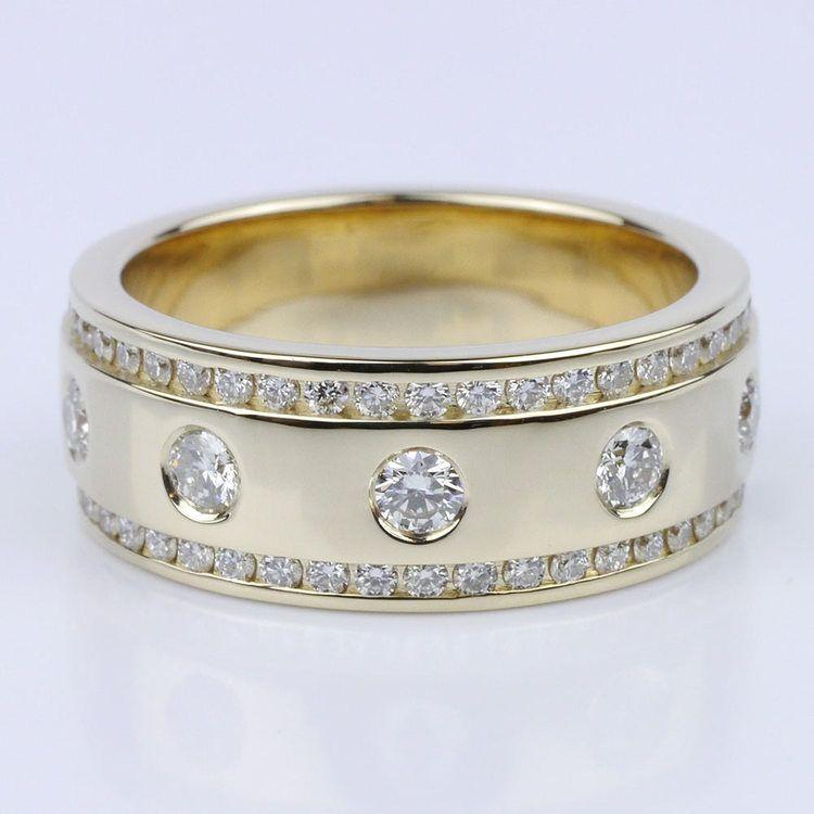 Custom Diamond Inset & Channel Men's Wedding Band