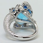 Custom Blue Pear Topaz Mermaid Ring Setting - small angle 4