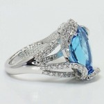 Custom Blue Pear Topaz Mermaid Ring Setting - small angle 2