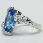Custom Blue Pear Topaz Mermaid Ring Setting - small angle 3