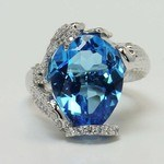 Custom Blue Pear Topaz Mermaid Ring Setting - small