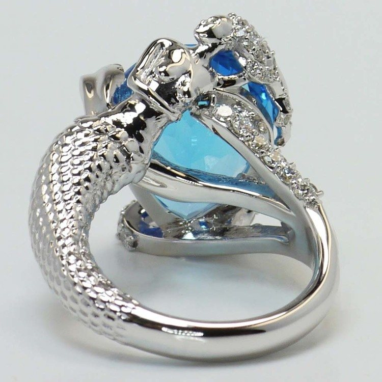 Custom Blue Pear Topaz Mermaid Ring Setting angle 4
