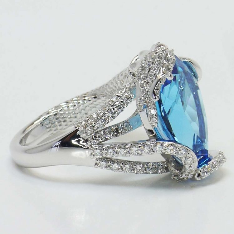 Custom Blue Pear Topaz Mermaid Ring Setting angle 2