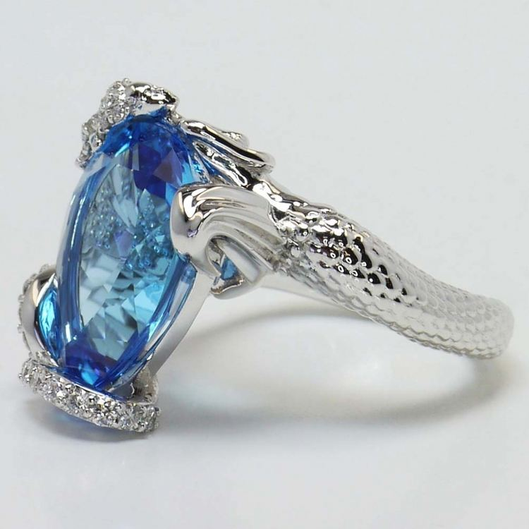 Custom Blue Pear Topaz Mermaid Ring Setting angle 3