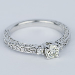 Custom Three-Sided Intricate Scroll Antique Engagement Ring - small angle 3