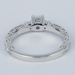 Custom Three-Sided Intricate Scroll Antique Engagement Ring - small angle 4