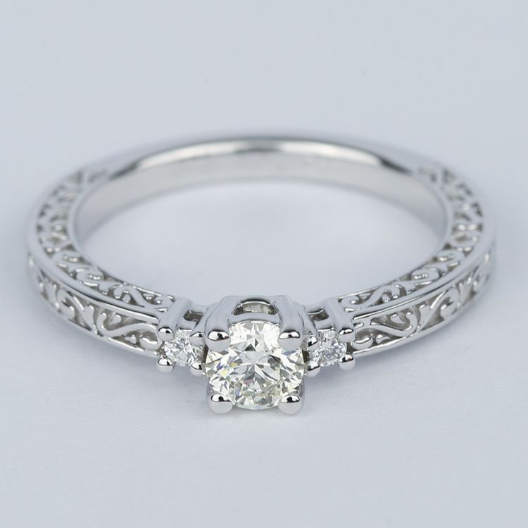 Custom Three-Sided Intricate Scroll Antique Engagement Ring