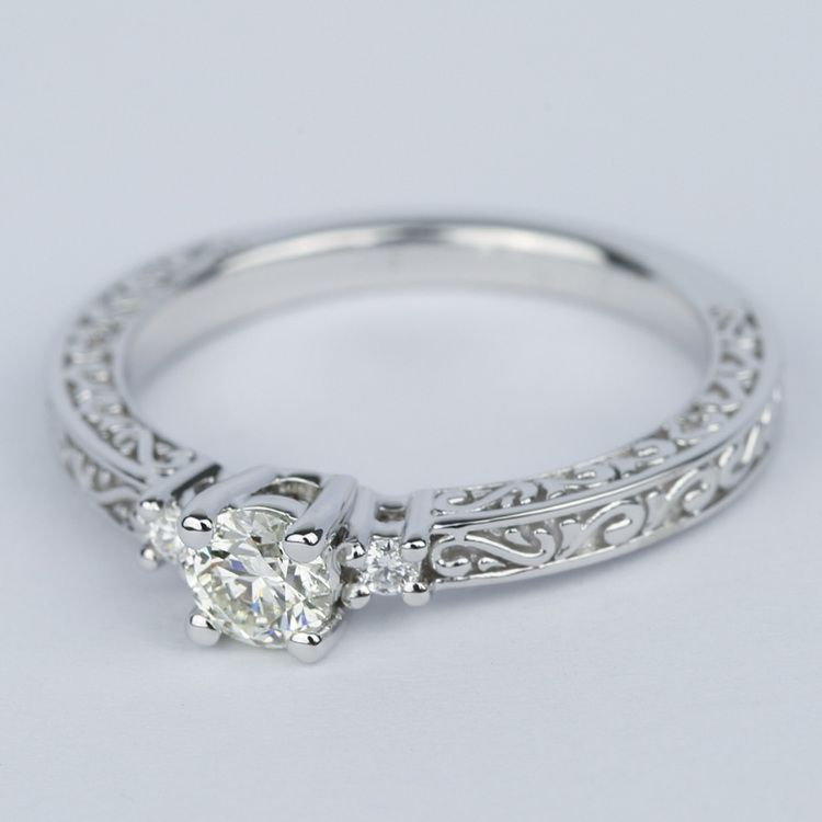 Custom Three-Sided Intricate Scroll Antique Engagement Ring angle 2