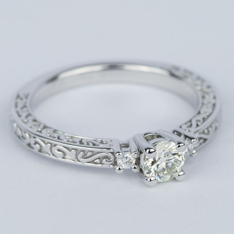 Custom Three-Sided Intricate Scroll Antique Engagement Ring angle 3