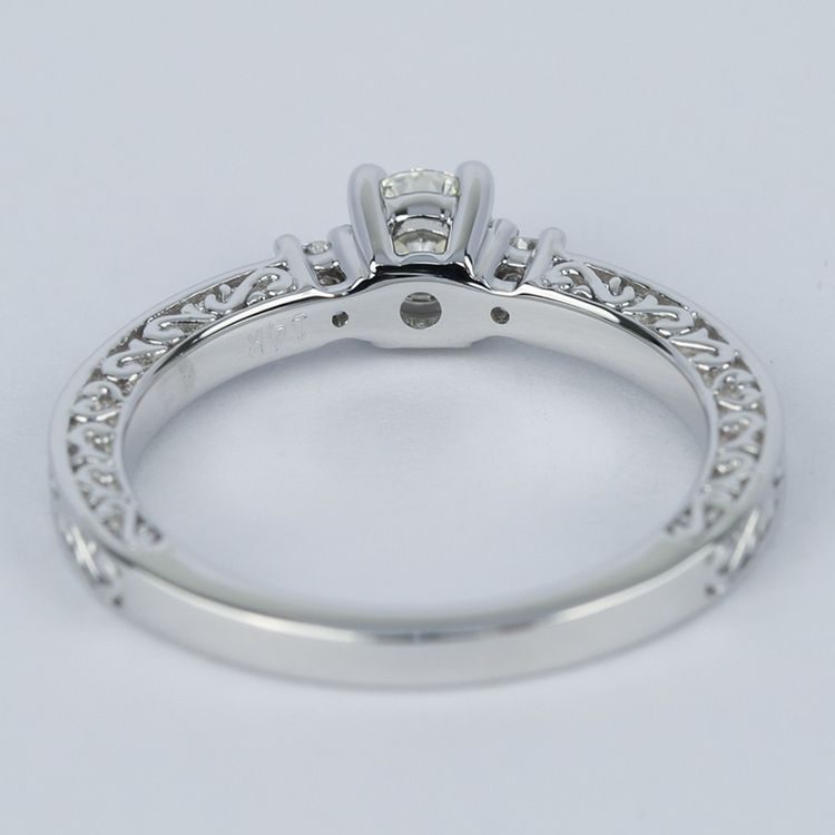 Antique Scroll Bands: Custom Three-Sided Intricate Scroll Antique Engagement Ring