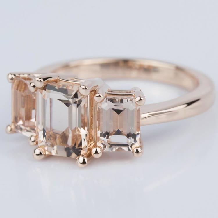 Custom Morganite Gemstone Engagement Ring in Rose Gold angle 2
