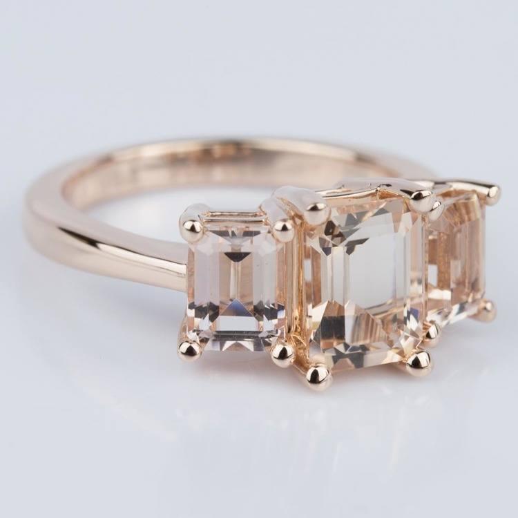 Custom Morganite Gemstone Engagement Ring in Rose Gold angle 3
