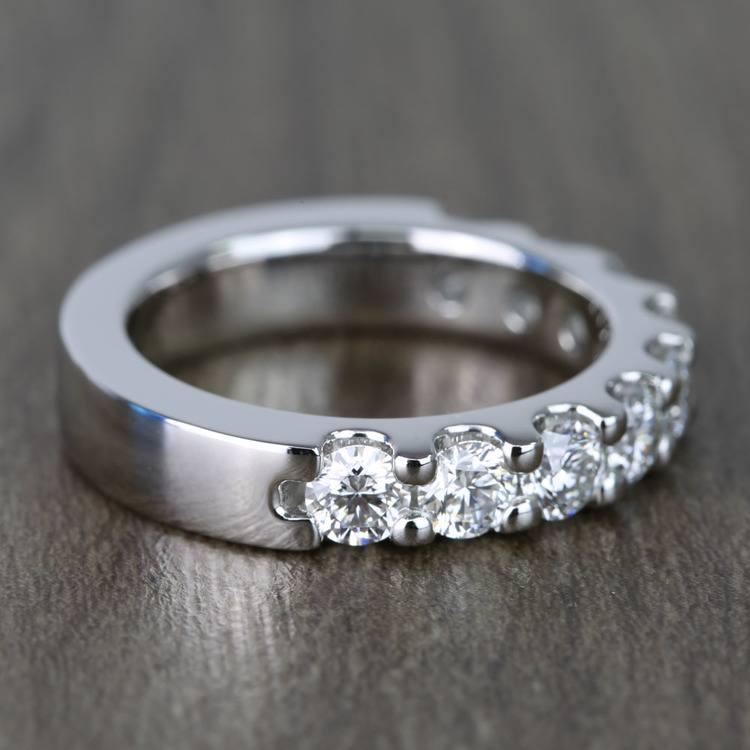 Custom Nine-Stone Scallop Diamond Wedding Ring angle 3