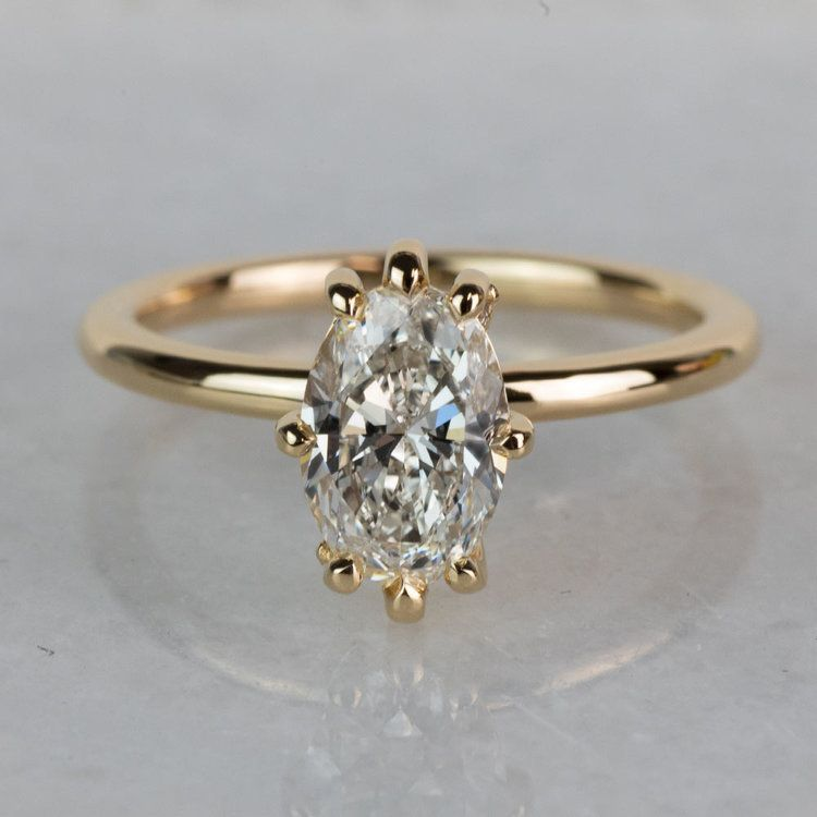 Custom Oval Diamond Engagement Ring In Yellow Gold