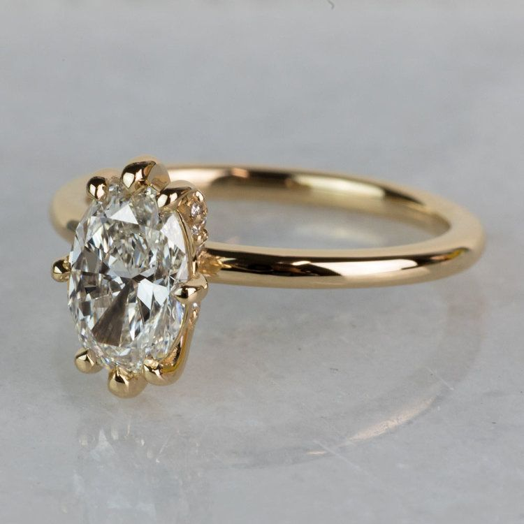 Custom Oval Diamond Engagement Ring In Yellow Gold angle 2
