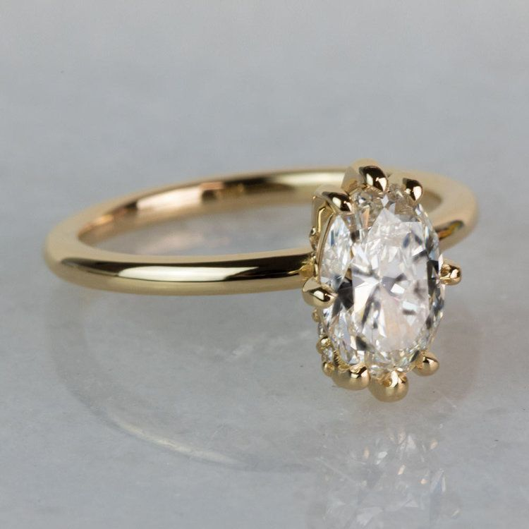 Custom Oval Diamond Engagement Ring In Yellow Gold angle 3