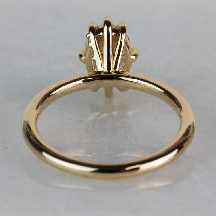 Custom Oval Diamond Engagement Ring In Yellow Gold angle 4