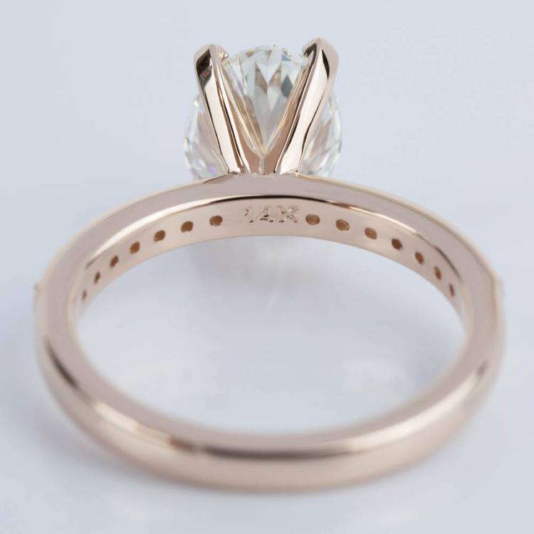 Custom Oval Diamond Vintage Engagement Ring in Rose Gold (2.00 ct.) angle 4
