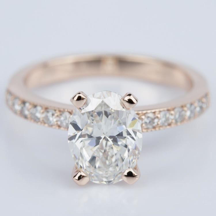 Custom Oval Diamond Vintage Engagement Ring in Rose Gold (2.00 ct.)