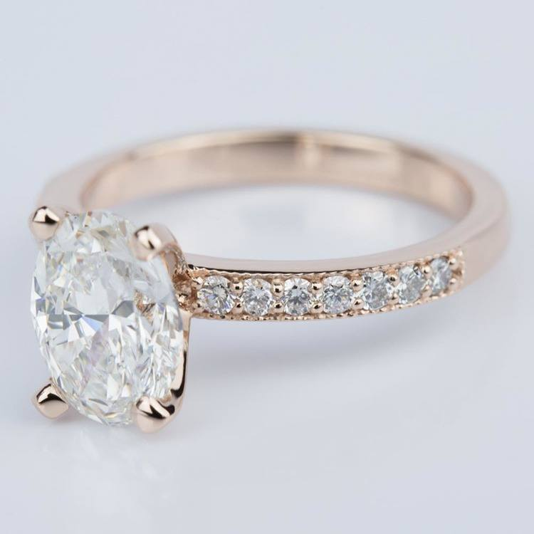 Custom Oval Diamond Vintage Engagement Ring in Rose Gold (2.00 ct.) angle 2
