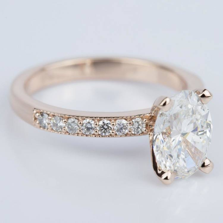 Custom Oval Diamond Vintage Engagement Ring in Rose Gold (2.00 ct.) angle 3